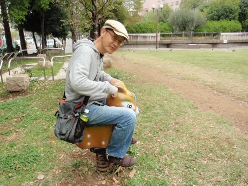 公園の木馬